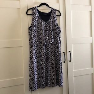 Geometric Print Dress - Navy, White & Pink - XL